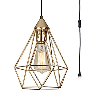 SEEBLEN Champagne Gold Hanging Light Modern Plug in Pendant Light with 15 Ft Cord Light Fixture in-Line On Off Switch 9.8×7.9×7.9 inches