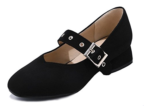 Shoes Black Women's Aisun Comfy Round Jane Mary Buckled Toe PxHxU6Fq
