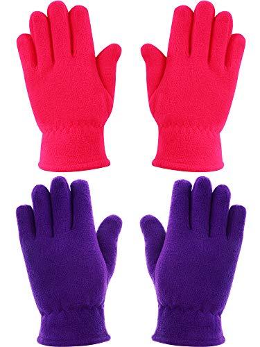 SATINIOR 2 Pairs Boys Girls Fleece Gloves Kids Gloves Warm Full-fingered Gloves for Winter Going Out