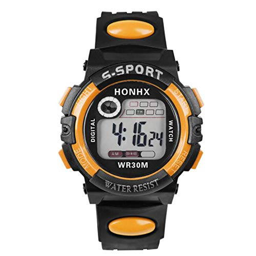 Relojes Digitales para niños Unisex, Relojes Deportivos Digitales multifuncionales Impermeables Naranja: Amazon.es: Relojes