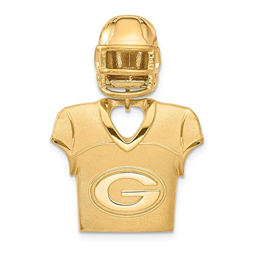 (Kira Riley Gold Plated Green Bay Packers Jersey & Helmet Pendant for Chains and Necklaces )