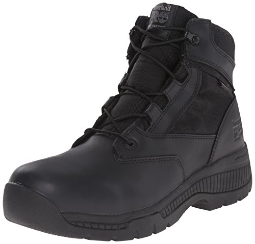 Timberland PRO Men's 6 inch Valor Soft Toe Waterproof Work Boot, Black Smooth Leather Ballistic Nylon, 10.5 M US - Timberland Weather Gear