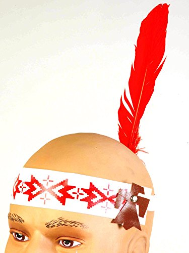 Native American Headband Deco Fabric W/ Red Indian Feather]()