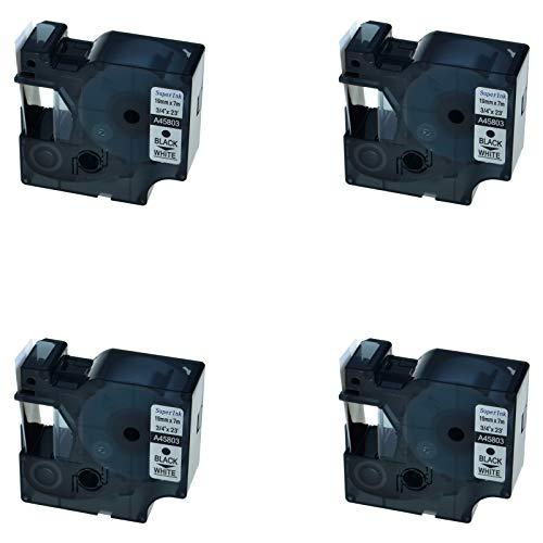 - SuperInk 4 PK Black on White Compatible for DYMO D1 45803 19mm 7m Label Tape LabelManager 300 350 350D 360D 400 420P 450 450D 500TS LabelPoint 300 350