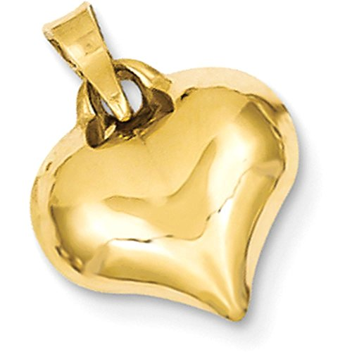 14k Gold Hollow Small Puffed Heart Pendant Charm - (Yellow Gold, 0.63 Inch ()