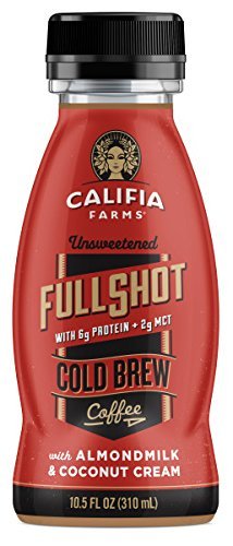 Califia Farms Full Shot Unsweetened Cold Brew Coffee with Almondmilk & Coconut Cream, 10.5 Oz (Pack of 12) | Dairy Free | Plant Based | Nut Milk | Vegan | Non-GMO