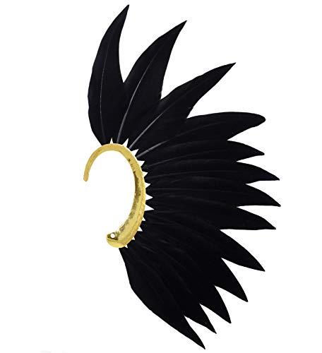 L'vow Men' Punk Style Feather Left Side Single Ear Cuffs Non Piercing Earring Wrap (Black)]()