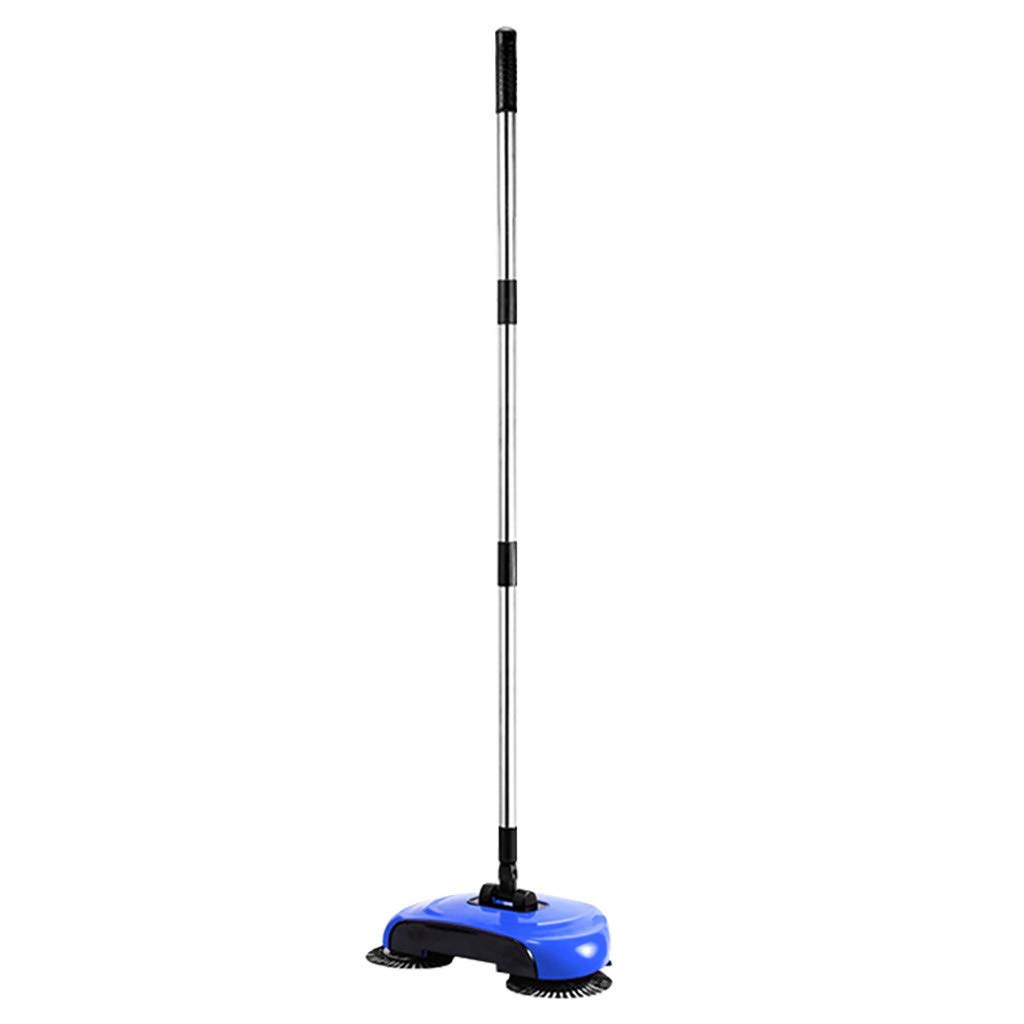 Nesee Lazy 3 in 1 Household Cleaning Hand Push Automatic Sweeper Broom,Floor Sweeper Hand Push Broom Dustpan Trash Bin 360° Rotating Floor Cleaning Tool (Blue)