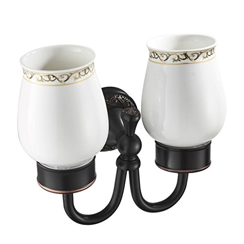 - Dolity Bathroom Vintage Wall Mounted Toothbrush Holder with Double Ceramic Cups