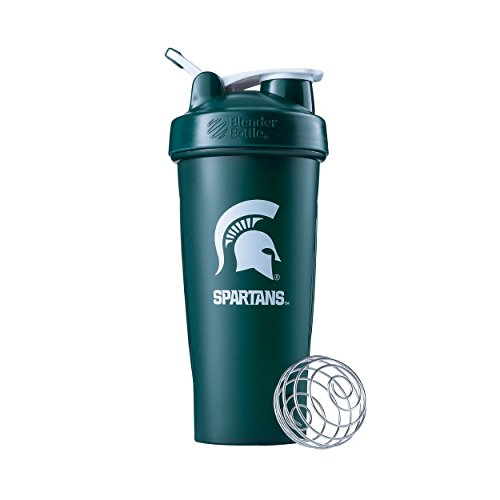 BlenderBottle Classic NCAA Collegiate Shaker Bottle, Michigan State University - Green/Green, - College Outlets State