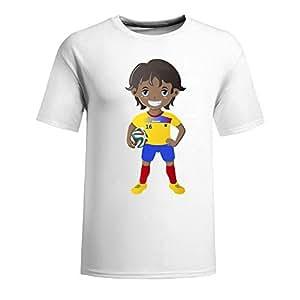 Custom Mens Cotton Short Sleeve Round Neck T-shirt,2014 Brazil FIFA World Cup UP72 white