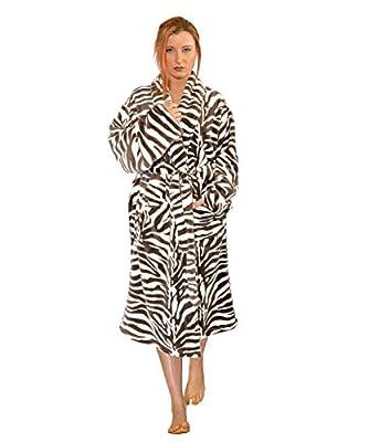 Home Soft Things Men & Women Bathrobe Printed Flannel Fleece Cloth Robe, Light Brown Zebra, L/XL