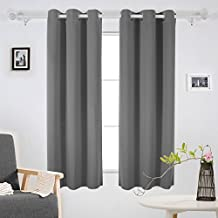 Deconovo Solid Grommet Curtains Blackout Panels Thermal Insulated Room Darkening Curtains for Study 42W x 63L Inch Light Grey 1 Pair