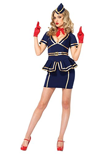 1950's Flight Attendant Costumes (Friendly Skies Flight Attendant Adult Costume - Medium)