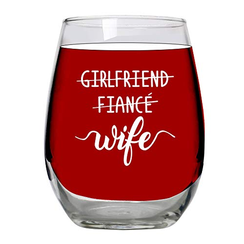 Bride To Be Gifts - Girlfriend Fiance Wife 15oz Large Stemless Wine Glass, Wedding, New Wife Engaged Gift, Bridal Shower, For Future Mrs