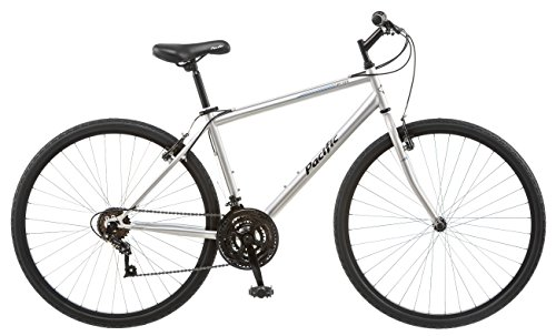 Pacific Bryson Men's 700c 18 Hybrid Bike, 18-Inch/Medium, Silver by Pacific