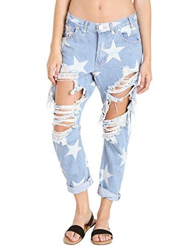 One Teaspoon Mujer Le Bonne Le Punk Saints Pantalones Azul