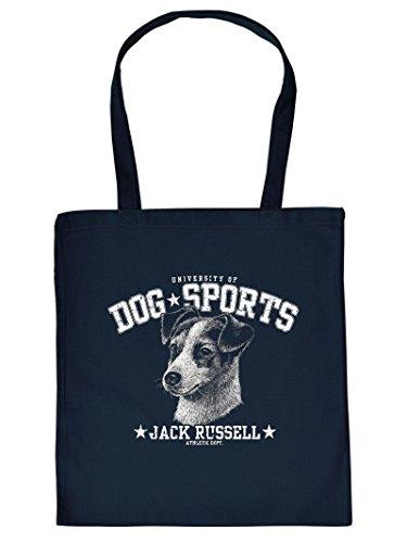 Stoff-Henkeltasche - Jack Russell - Ein Must-have für Tierfreunde - Einkaufstasche - Turnbeutel. Navy Blau