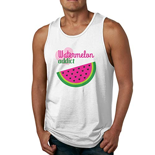SY COMPACT Man Watermelon Addict Outdoor Sleeveless Tank Top Summer Sport Tee Shirt White