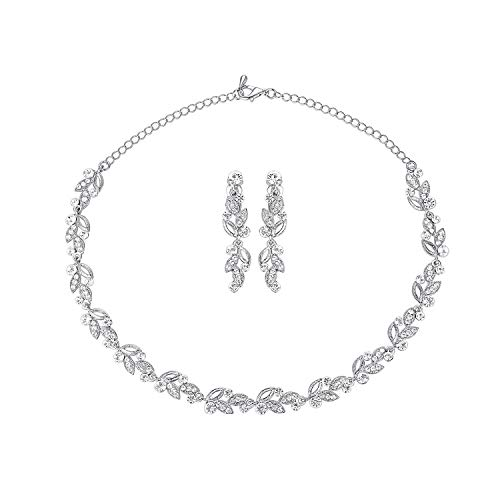 Rhinestone Crystal Wedding Flower Necklace - mecresh Silver Trendy Leaves Bridal Jewelry Sets Crystal Rhinestone Floral Necklace Sets Wedding Party Jewelry