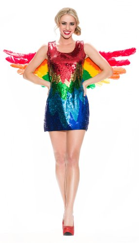 [Delicious Sequin Front Pull Over Dress Polly, Multi, X-Small] (Parrot Costume Wings)