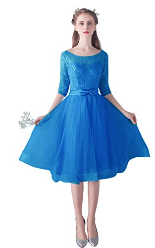 5cdf6f8567 Women s Tulle Short Homecoming Dresses 2018 Knee Length Prom Gown with  Sleeves Size 14 Blue 1
