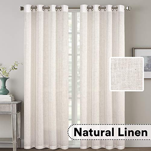 H.VERSAILTEX 2 Pack Ultra Luxurious High Woven Linen Elegant Curtains Grommet Curtain Panels Light Reducing Privacy Panels Drapes, Nickel Grommet, Extra Long 52x108-Inch, Natural (Drapes Privacy)