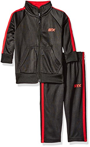 STX Boys' Big Boys' Tricot Mock Neck Jacket and Matching Jog Pant, Red/Black, (Kids Tricot Jacket)