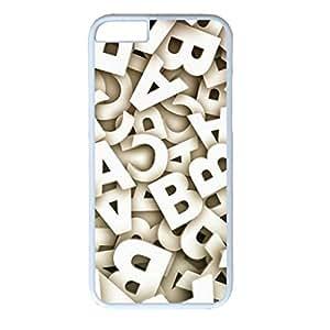 E-luckiycase PC Hard Shell English Letters Background 2 White Skin Edges for Iphone 6 Case