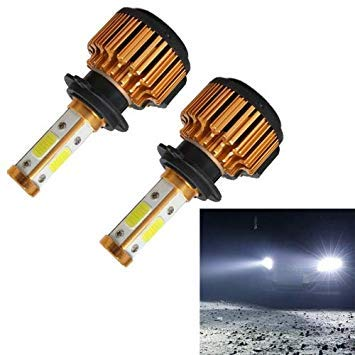 Uniqus 2 PCS X6 H7 36W 3600LM 6500K 4 COB LED Car Headlight Lamps, gold Shell, DC 9-32V(White Light)
