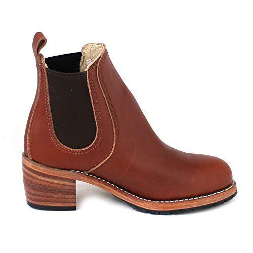 Marron Shoes Wing Red cognac Boots Femme Chelsea X5qHqd