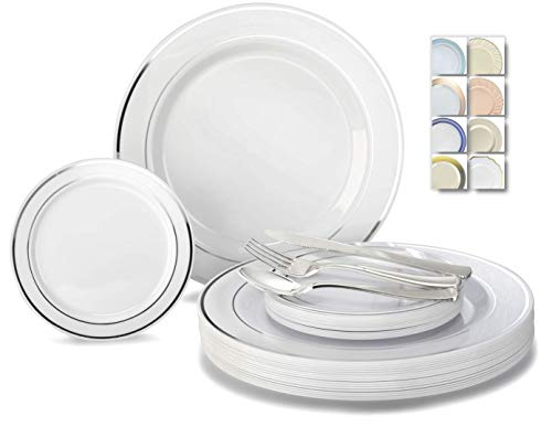""""""" OCCASIONS"""" 600 Pcs Set / 120 Guest Wedding Disposable Plastic Plate and Silverware Combo Set, (White/Silver Rim plates, Silver silverware)"""