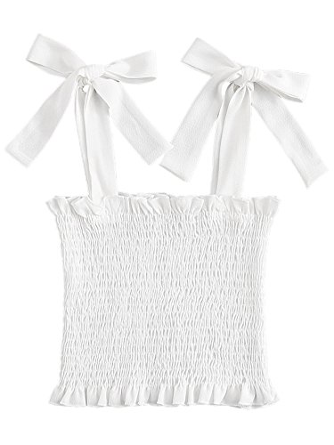 Strap Smock (ROMWE Women's Sexy Frill Trim Strap Shirred Smock Crop Top Vest Tank Cami White M)