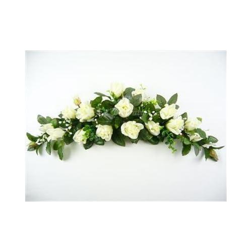 Wedding table flowers amazon artificial silk flowers rose bud eucalyptus gypso swag slim table centrepiece off white junglespirit Gallery