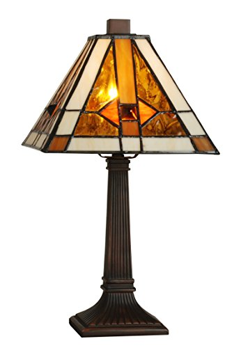 Tiffany Style Table Lamp Stained Glass Mission Mini Small Accent Decorative Antique Lighting Coffee Table Desk Bedroom Living Room Bedside Reading Night Light White Orange Brown Colored 15 X 8 ()
