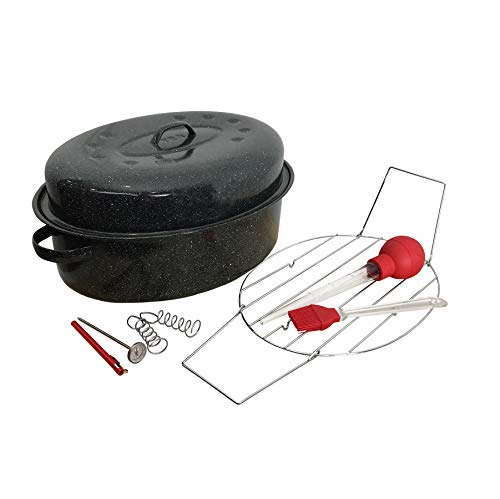 GraniteWare 19 Inch Oval Covered Roaster and Roasting Tool Set, Includes Baster, Basting Brush, Instant Read Thermometer, and Spiral ()