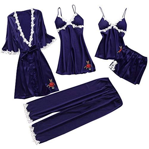 (RAINED-Women Silk Pajamas Set Sexy Lace Lingerie Nightwear Underwear Babydoll Sleepwear Dress 5PC Suit)