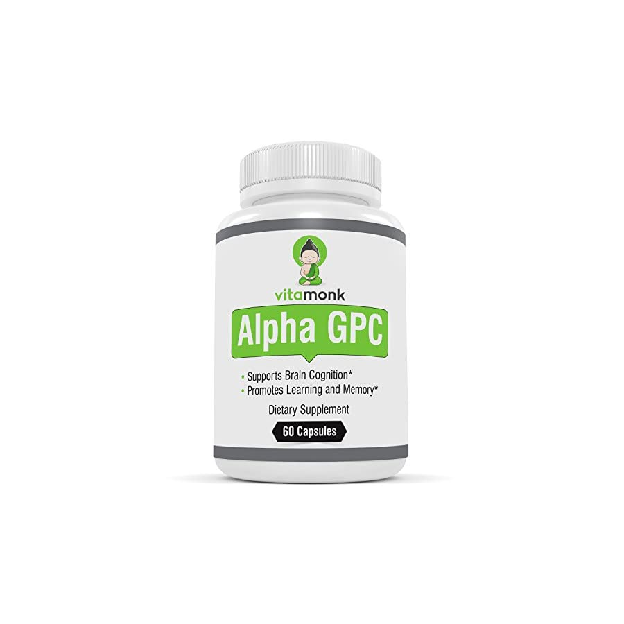 Alpha GPC Capsules by VitaMonk™ The #1 Bioavailable Choline Supplement To Support Brain Cognition 60 Alpha GPC 325mg Capsules NO Artificial Fillers