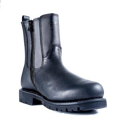 Ridge Footwear Men's All Leather Side Zip Motorcycle Boot,Black,9.5 M US Black Leather Motorcycle Boots