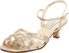 Add a shimmering touch to your look with the elegant Touch Ups™ Jane. Metallic faux-leather upper with glitter accents. Adjustable buckle closure. Strappy vamp. Man-made lining. Lightly padded footbed. Covered heel. Synthetic sole. Measureme...