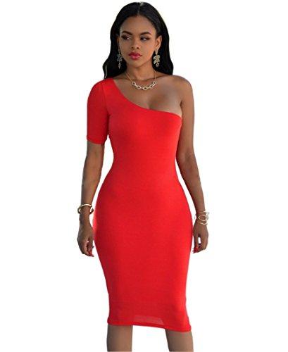 Les Femmes Sexy Une Manche Courte Robe Épaules Moulante Midi Clubwear Rouge