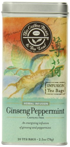 Ginseng Coffee - The Coffee Bean & Tea Leaf, Tea, Hand-Picked Ginseng Peppermint, 20 Count Tin, 2.5 Oz