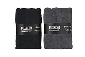 Urbany Life Microfiber Towels w/Pocket (2-Pack) Sports, Beach, Swimming, Workout, and Yoga | Quick Dry, Super Absorbent | Compact, Portable Travel, Black,Grey, 20 inch x 40 inch