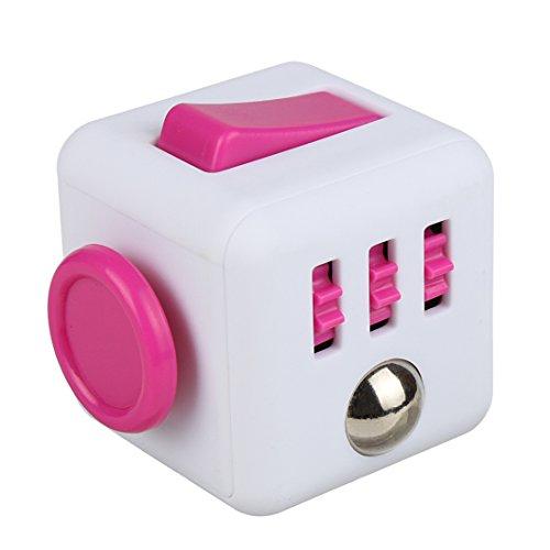 Andux Zone Décompresser Fidget Cube Soulager la concentration de pression Dice Jouets créatifs JYSZ-01 (Blanc/rose)