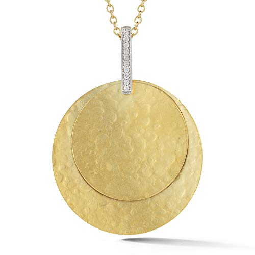 I REISS 14K Yellow Gold 0.06ct TDW Diamond Accent Circle Pendant Necklace ()