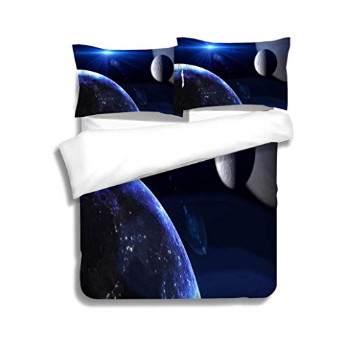 Bedspread Set Queen Size,Planets and Galaxy Science Fiction Wallpaper Beauty of deep Space,Soft,Breathable,Hypoallergenic,Print,Decorative Quilted 3 Piece Coverlet Set with 2 Pillow Shams, ()