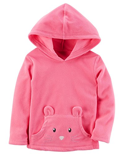 Carter's Baby Girls' Pullover Fleece Hoodie (12 Months, Pink)