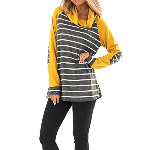 COPPEN Women Blouse Autumn Long Sleeve Striped Cowl Neck Pullover Bow -