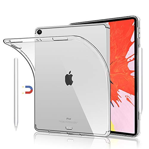 Soft Flexible TPU Silicon Cases for iPad Pro 12.9 inch 2018, Support Apple Pencil Charging, Clear Transparent Slim TPU Cover Case for 12.9
