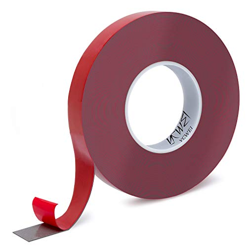 Double Sided Acrylic Heavy Duty Mounting Tape,Removable,Gray,Tough Bonding Strength,Weatherproof,1 In x 590in- 1mm Thickness